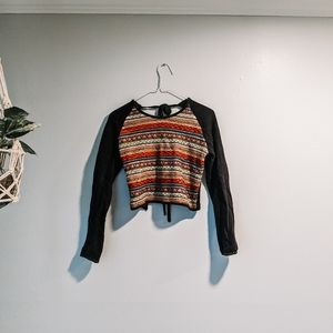 Free People Tie Back Embroidered Sweater